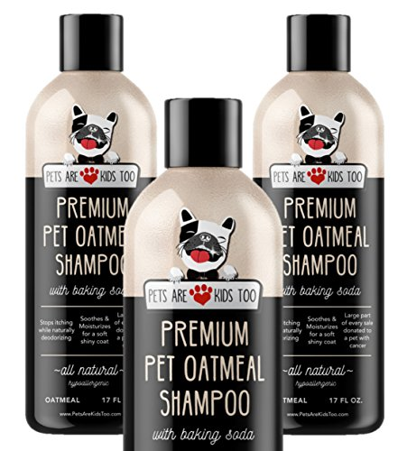 NEW Premium Pet Oatmeal Shampoo - Best Way To Cure Dry Itchy Skin in Dogs & Cats - Leaves Pet Smelling & Looking Great! ALL NATURAL & Hypoallergenic. Soothing Aloe Vera, Vitamins & Conditioner! 1 unit