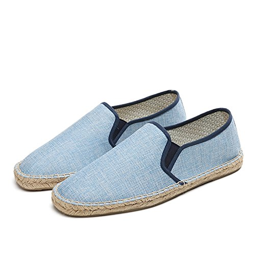 Primavera Mocasines HUAN Azul y Blanco Otoño Zapatos de F Comfort Hombre Verano Lino Para Slip Ons Casual qwnI4x8Uw