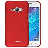 Casotec Ultra Slim Hard Shell Back Case Cover for Samsung Galaxy J1 Ace - Maroon Red
