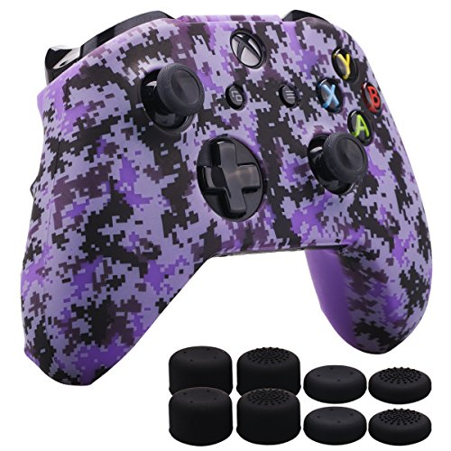 MXRC Silicone Rubber Cover Skin Case Anti-Slip Water Transfer Customize Digital Camouflage for Xbox One/S/X Controller x 1 Purple+ FPS PRO Extra Height Thumb Grips x 8