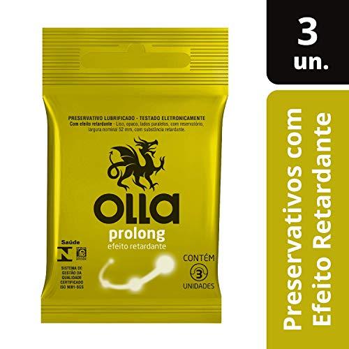 Preservativo Lubrificado Olla Prolong 3 unidades, Olla, pacote de 3
