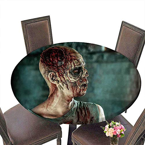 PINAFORE Elasticized Table Cover Close up Portrait of a Horrible Scary Zombie Man Halloween Machine Washable 40