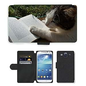 GoGoMobile PU LEATHER case coque housse smartphone Flip bag Cover protection // M00119039 Literatura Lectura del gato libro // Samsung Galaxy S3 S III SIII i9300