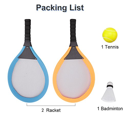 fashionclubs Kids Tennis Racket Set, Plastic Badminton Tennis Rackets Balls Set,Kids Racket|Racquet Play Game Toy Set,Play at The Beach,Lawn or Backyard