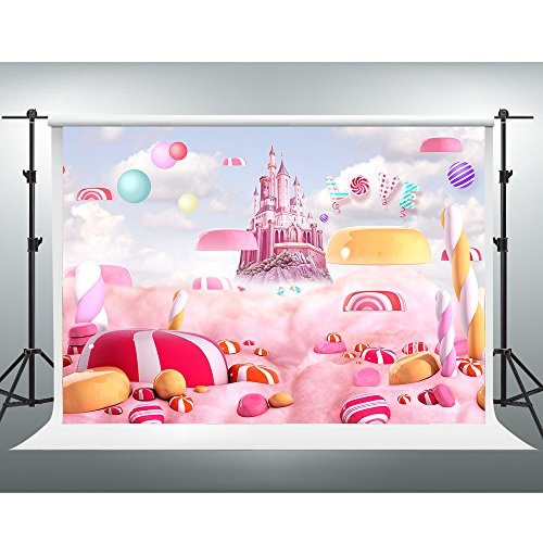 - GESEN 10x7Ft Pink Backdrop Disney Castle Fantasy Dreamland Sweet Candy Photography Backgrounds for Children Newborn Baby Photo Studio Video Props GE002
