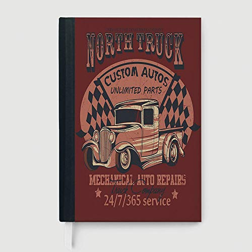Hardcover,Man Cave Decor,Business Notepad Daolin Paper,North Truck Mechanical Auto Repairs Custom Autos Vintage Advertising Decorative,96 Ruled Sheets,A5/8.24x5.73 in
