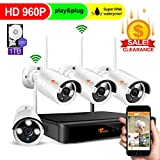 Security Cameras System Wireless - 8CH 960P HD DVR 1TB Hard Drive,4X HD 960P Weatherproof Outdoor Surveillance Cameras with 100ft Night Vision,Alarm System,CORSEE
