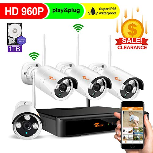 CORSEE 8CH Security Cameras System Wireless – 960P HD DVR 1TB Hard Drive,4X HD 960P Weatherproof Outdoor Surveillance Cameras with 100ft Night Vision,Alarm System