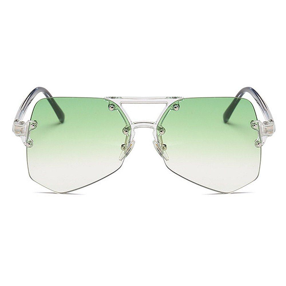 cd54aa89ce Personalidad transparente gafas de sol sin marco conducción Verde) para  mujeres claro hombres Unisex Irregular de gran tamaño claro colorida gafas  de sol de ...
