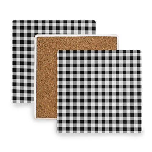 - Gingham Black White Tartan Ceramic Coasters for Drinks,Square 4 Piece Coaster Set