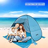 FINFREE Beach Tent, Sun Shelter Lightweight Family Finshing Ant UV 50+, Automatic Pop up Instant Portable Cabana