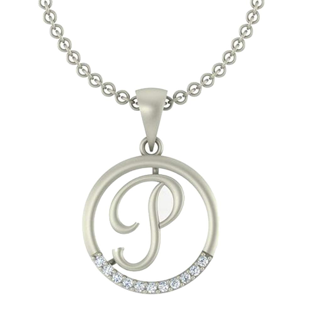 0.05 Ct Round Cut Simulated Diamond letterP In Circle pendant With 18 Chain 14K White Gold Plated
