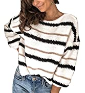 PRETTYGARDEN Women's Fashion Long Sleeve Striped Color Block Knitted Sweater Crew Neck Loose Pull...