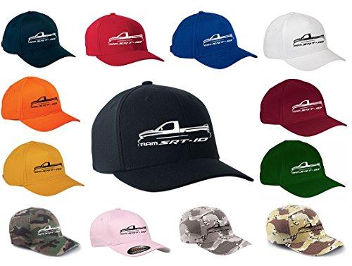 (Dodge Ram SRT10 Viper Pickup Truck Classic Outline Design Flexfit hat cap small/medium black)