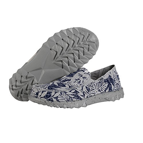Dude Shoes Hey Men's Farty Print Navy Flower Slip On/Mule Blue
