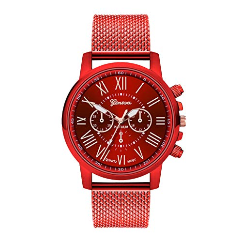 -  Orcbee  _Luxury Watches Quartz Watch Stainless Steel Dial Casual Bracele Watch (Red)
