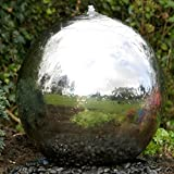 60cm Sphere Stainless Steel Garden Water Feature with LED's