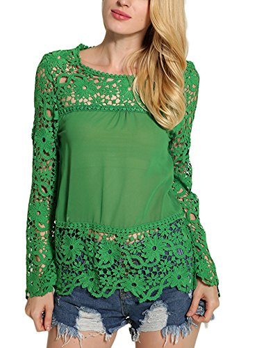 Minetom Mujer Elegante Manga Larga Hueco Encaje Camiseta Casual Cordón Delgado Color Sólido Blusa Floral Crochet Shirt Verde