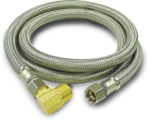 Kissler & Company Inc. 88-2048 Braided Dishwasher Connector, 3/8-Inch by 3/8-Inch with 1/2-Inch Elbow, Stainless Steel