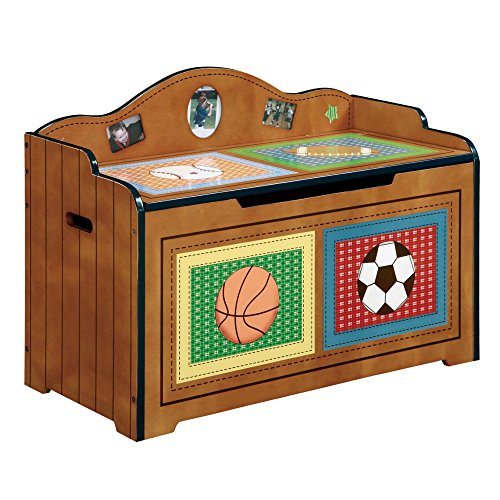 Fantasy Fields - Lil' Sports Fan Thematic Kids Wooden Toy Chest with Safety Hinges | Imagination Inspiring Hand Crafted & Hand Painted Details   Non-Toxic, Lead Free Water-based Paint (Baseball Toy Chest)