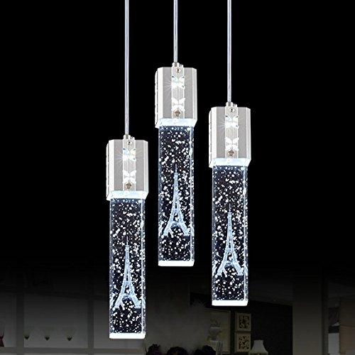 Jiuzhuo Modern 3 light Pendant Crystal Bubble Shade Hanging LED Ceiling Pendant Light Fixture (Round Canopy) (Three Light Canopy Pendant)