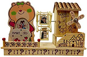 Home shape Wood Toy with Sound and Photo Frame