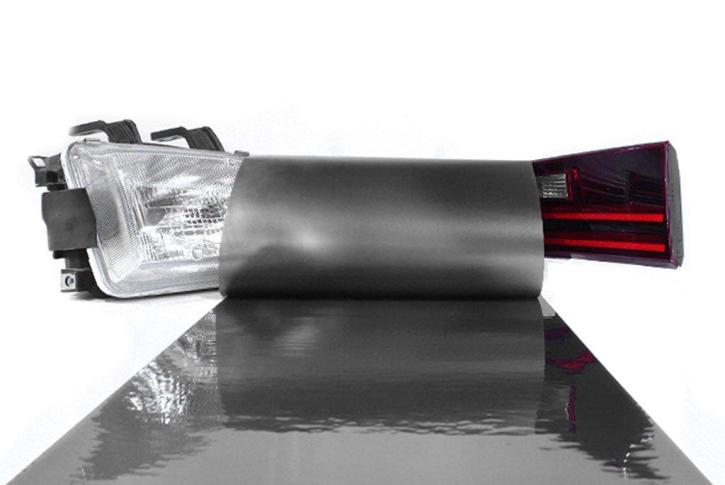 LinkedGo Self Adhesive Dark Black Gloss Vinyl Headlight Foglight Tail Tint Wrap 12x48