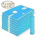 Vemingo Vacuum Storage Bags Air Tight Bags Save 80% Space 8 Pack Extra Large 43 X 32'' Bonus Hand-Pump (Blue)