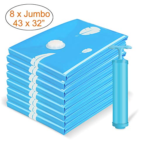 Vemingo Vacuum Storage Bags Air Tight Bags Save 80% Space Extra Large (Blue)