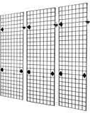 2' x 6' Foot Wire Grid Panel Wall Display Kit, 3-Pack. Color: Black