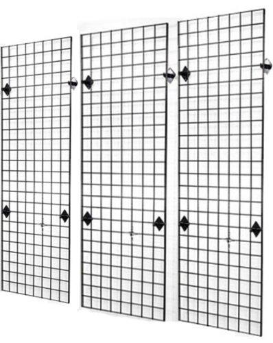 2' x 6' Foot Wire Grid Panel Wall Display Kit, 3-Pack. Color: Black by Metropolitan Display