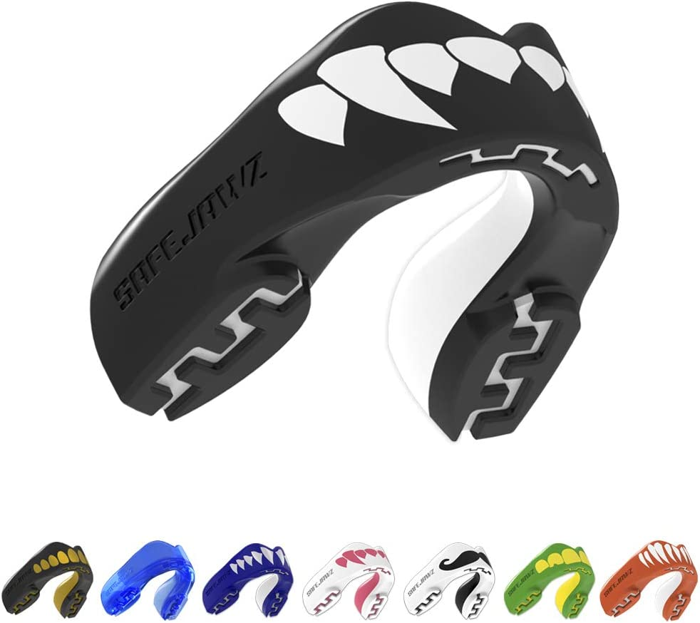B00ZA1C2FA SafeJawz Extro Series Self-Fit Fangs Gum Shield - Youth - Black - Junior - Age 11- 51qOp-oBgeL