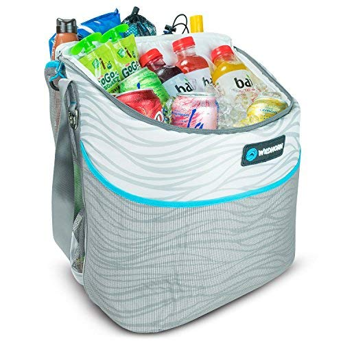 Wildhorn Tortuga Beach Bag Cooler Tote. 24 Can Easy Access Insulated Side Cooler Compartment, Large Drawstring Storage Space, External Mesh Pocket.