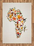 African Area Rug by Ambesonne, Africa Travel Map Plan Traditional Objects Continental Ethnic Culture Arts Craft Print, Flat Woven Accent Rug for Living Room Bedroom Dining Room, 5.2 x 7.5 FT, Multi