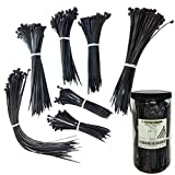 """Nylon Cable Tie Kit - 650 Pieces - Assorted Lengths 4"""", 6"""", 8"""", 11"""" - Black"""