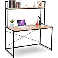 WOLTU Computer Desk Bookshelves Compact Home Notebook Desk Large Wood and Metal Sturdy Waokstation Table Woodlook