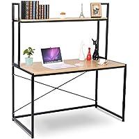 WOLTU Computer Desk Bookshelves Compact Home Notebook Desk Large Wood and Metal Sturdy Waokstation Table Woodlook
