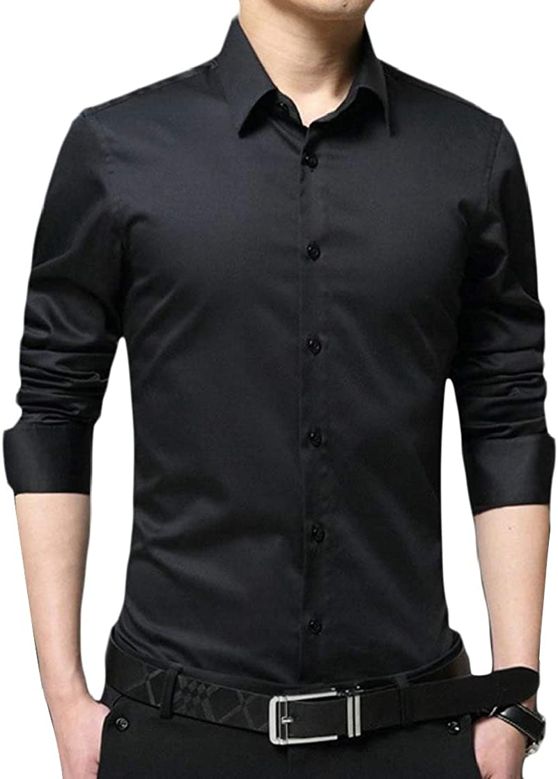 Joe Wenko Mens Business Fashion Long Sleeve Turn Down Button Down Shirts