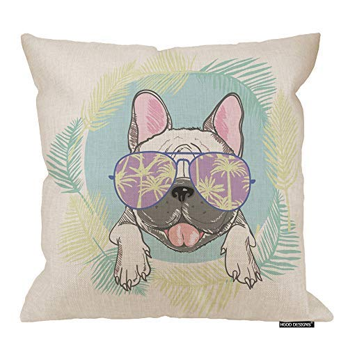 HGOD DESIGNS Bulldog Pillow Cover,Funny Cartoon French Bulldog Head with Sunglasses and Leaves Cotton Linen Cushion Covers Home Decorative Throw Pillowcases 18x18inch