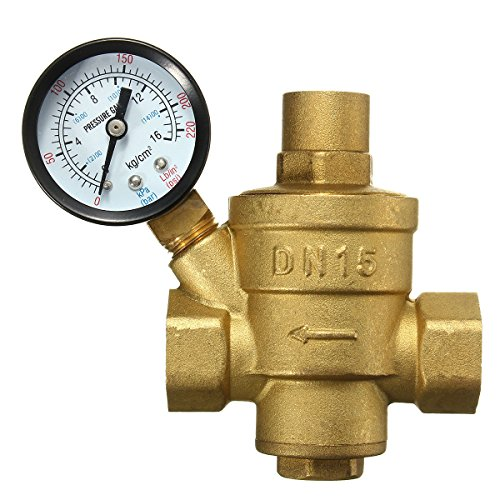 - Grace Fun Adjustable Water Pressure Reducing Valves,DN15 1/2 Inch Brass Pressure Regulator Relief Valve with Pressure Gauge Flow