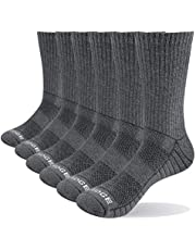 YUEDGE Men's Sports Athletic Socks 6 Pairs/Pack Moisture Wick Cotton Cushion Crew Socks for Men Size 6-13
