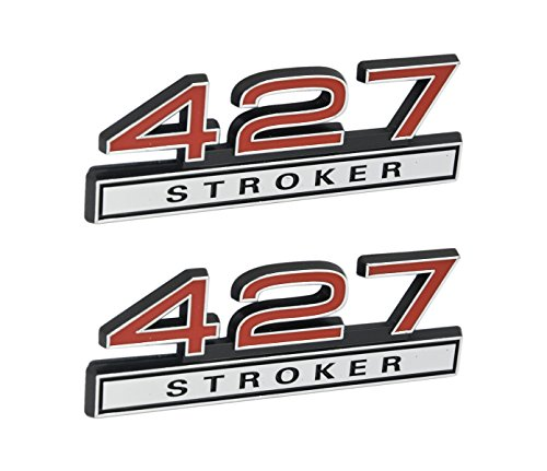 427 Stroker 7.0 Liter Engine Emblems in Chrome & Red Trim - 4