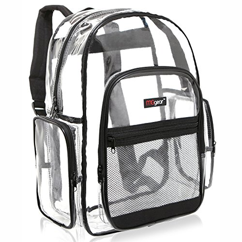 MGgear Clear Transparent PVC School Backpack/ Outdoor Backpack with Black Trim