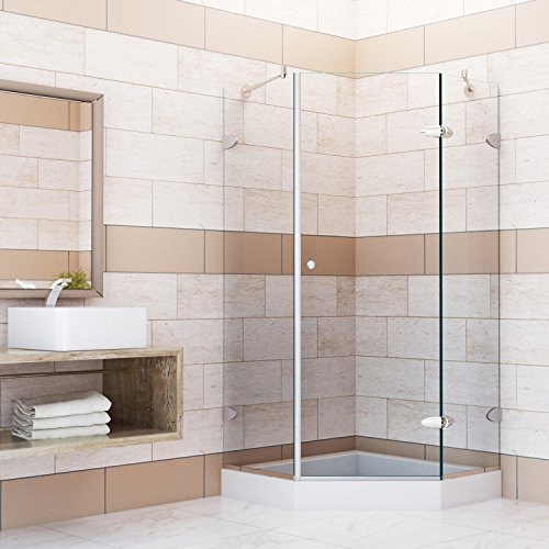 VIGO Verona 42 X 42 In. Frameless Neo Angle Shower Enclosure With .375 In.  Clear Glass And Brushed Nickel Hardware (Shower Base Included)