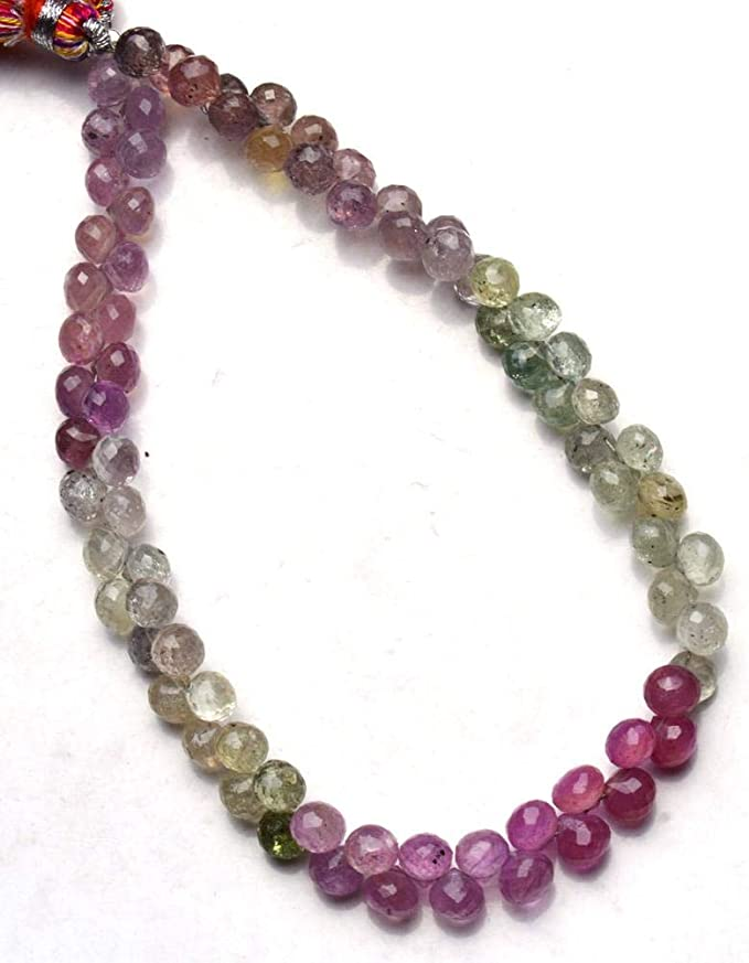 Super Finest Quality AAA Quality Umba Pink Sapphire Faceted Onion Briolettes Size 6.5-5mm 8.5 Inches Strand