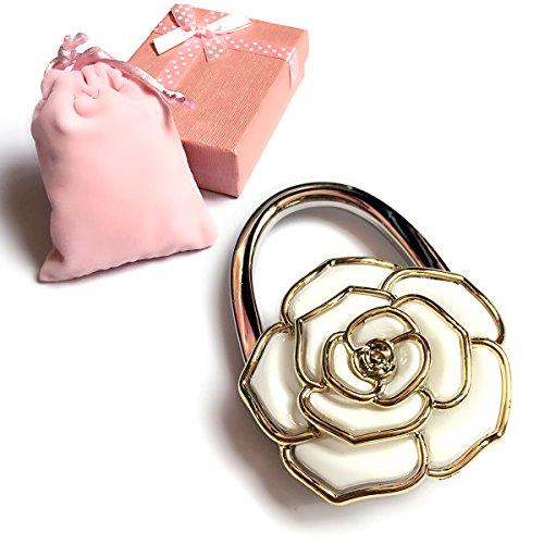 Elesa Miracle Purse Hook6 Choices Foldable Handbag Hanger, Folding Table Hanger, with Velvet Pouch in Gift Box (White Flower) (Hook Flower Purse)