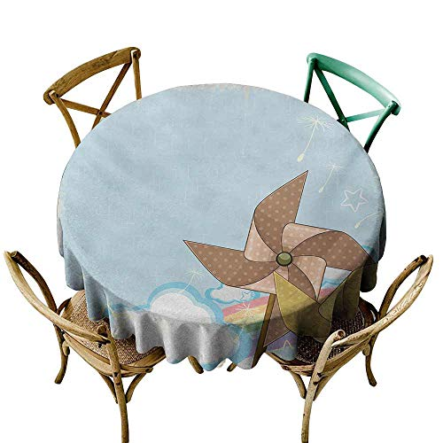 SKDSArts Restaurant Table Cover Vintage Rainbow,Fantastic Blue Sky with Clouds Stars Dandelion Seeds and Two Pinwheels,Multicolor D60,Table Cover