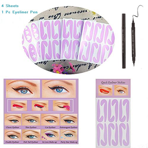 BTArtbox 4 Pcs 24 Pairs Different Style Adhesive Eyeliner Stencil Cat Eyeliner Stencil Lazy Tool,Star,Heart,Double-wind,ect,Finish Your Eye Makeup in Minute with 1 Pcs Dual-used Eyeliner Pen