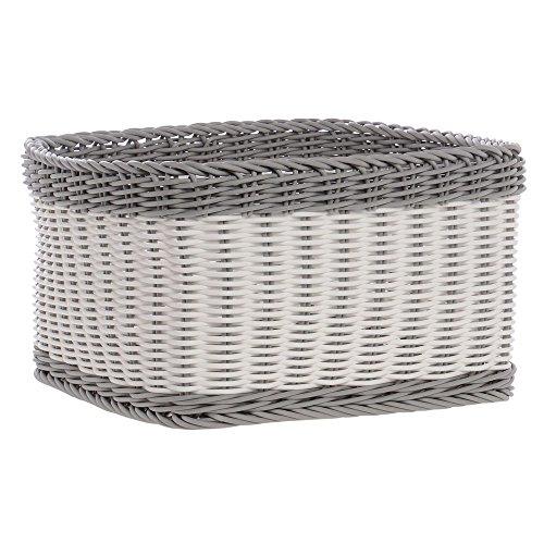 Grey And White Storage Basket - 12'' L x 12'' W x 6 1/2 H by Hubert