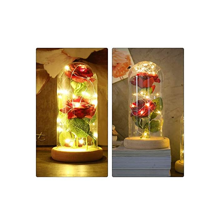"""51qOrd5TPAL ♥ """"KIT DE ROSA ROJA """"BEAUTY AND THE BEAST"""": Incluye 2 piezas de Red Silk Rose, 20 Leds Strip Light con A Glass Dome y A Wooden Base, crea un ambiente romántico para los amantes. ♥ROSA BRILLANTE EN BÓVEDA DE CRISTAL: Altura 18cm, Diámetro 8.5cm. Espesor de vidrio de 0.23cm. Con el paquete confiable. Por favor, tenga la seguridad de comprar. También puede cortar y doblar la longitud de la rosa según su necesidad. E insértelo en el pequeño orificio de la base de madera. ♥ROSA DE SEDA ARTIFICIAL: La cadena de 20 LED tiene una longitud de aproximadamente 2m / 6.6ft, está hecha con un fino alambre de cobre flexible que crea la forma que desee y agrega un hermoso acento decorativo. Hecho de alambre de cobre alto, flexible, IP20 a prueba de agua, duradero para uso diario."""